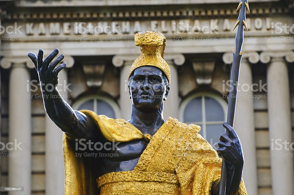 King Kamehameha statue in Honolulu Hawaii stock photo