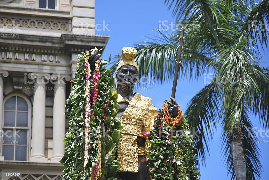 King Kamehameha Statue in Honolulu stock photo
