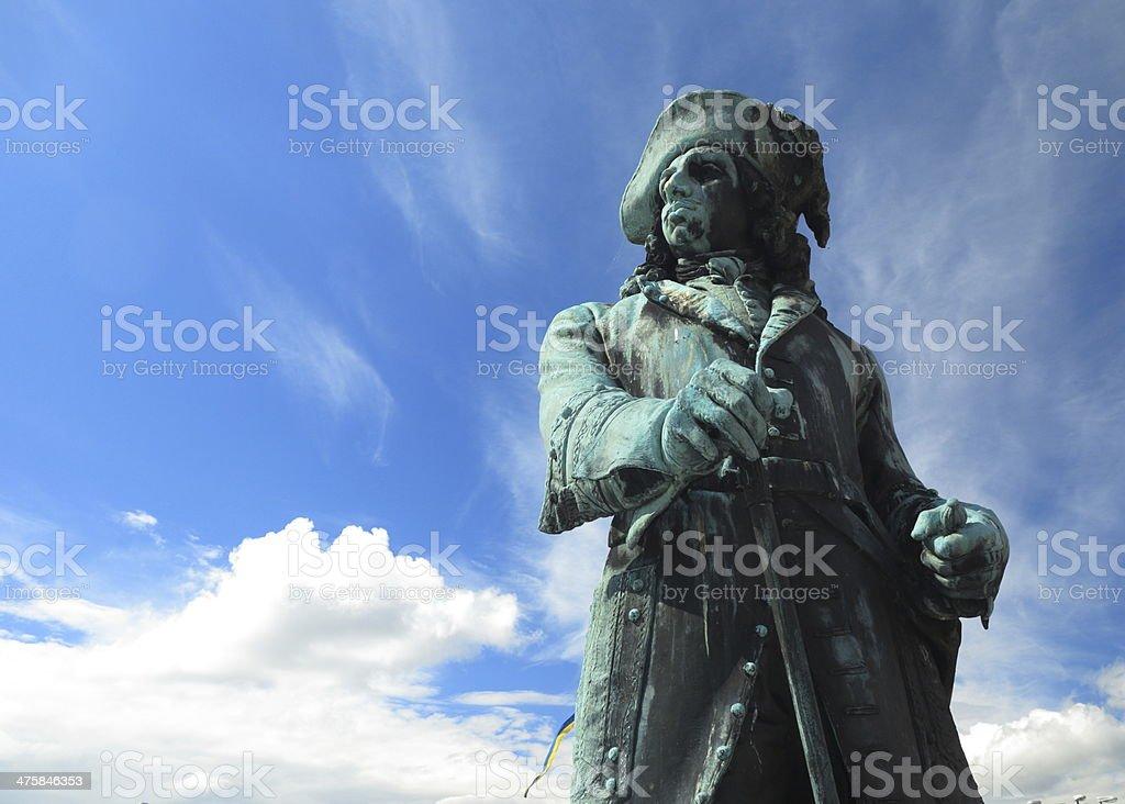 King Karl XI statue in Karlskrona city Sweden stock photo