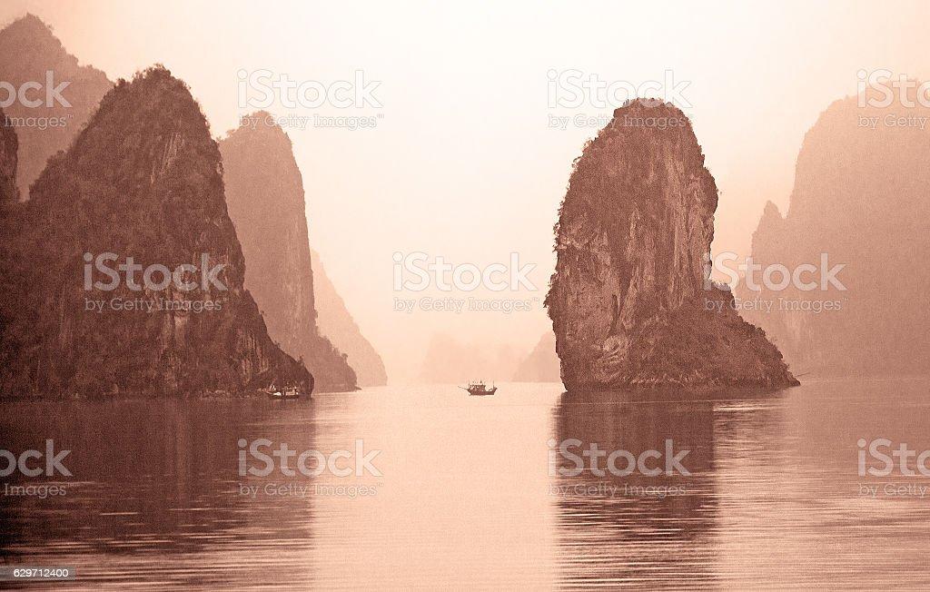 King Kong Rock Boat Sunrise Vietnam stock photo