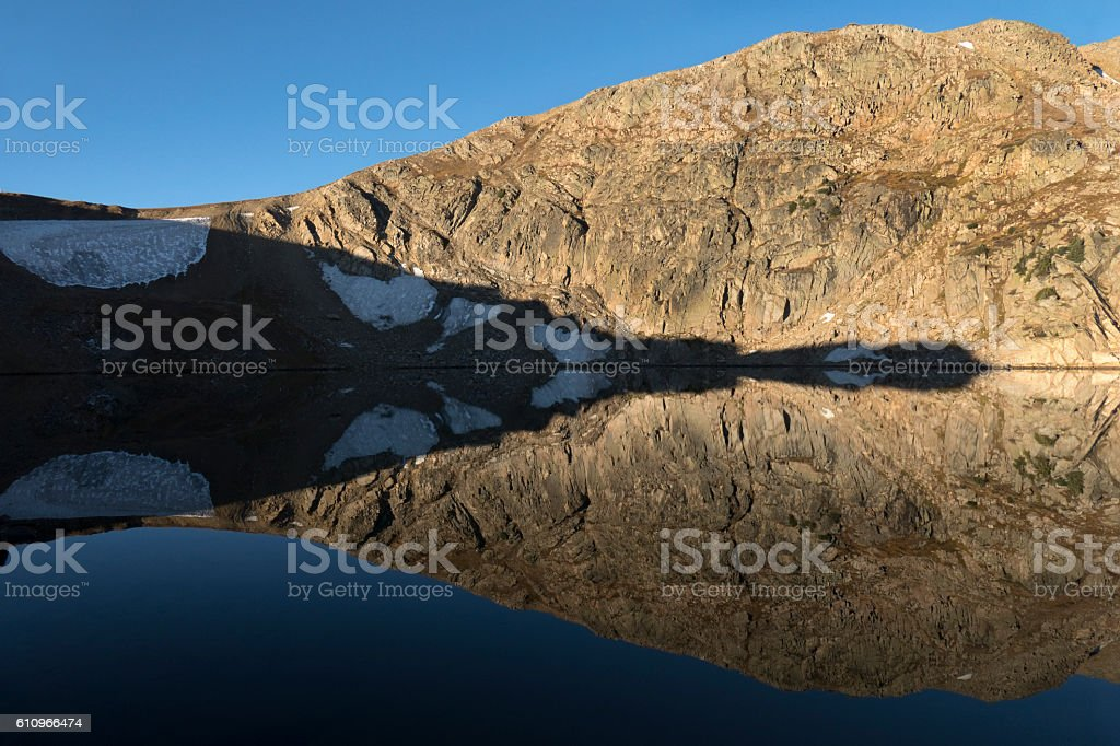 King Lake reflection Rollins Pass Indian Peaks Continental Divide Colorado stock photo