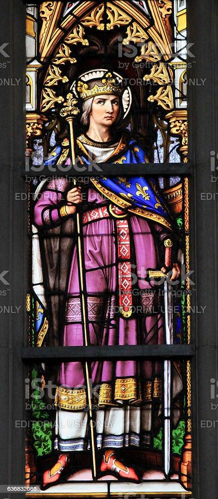 King Louis IX, Saint Louis - Stained Glass stock photo