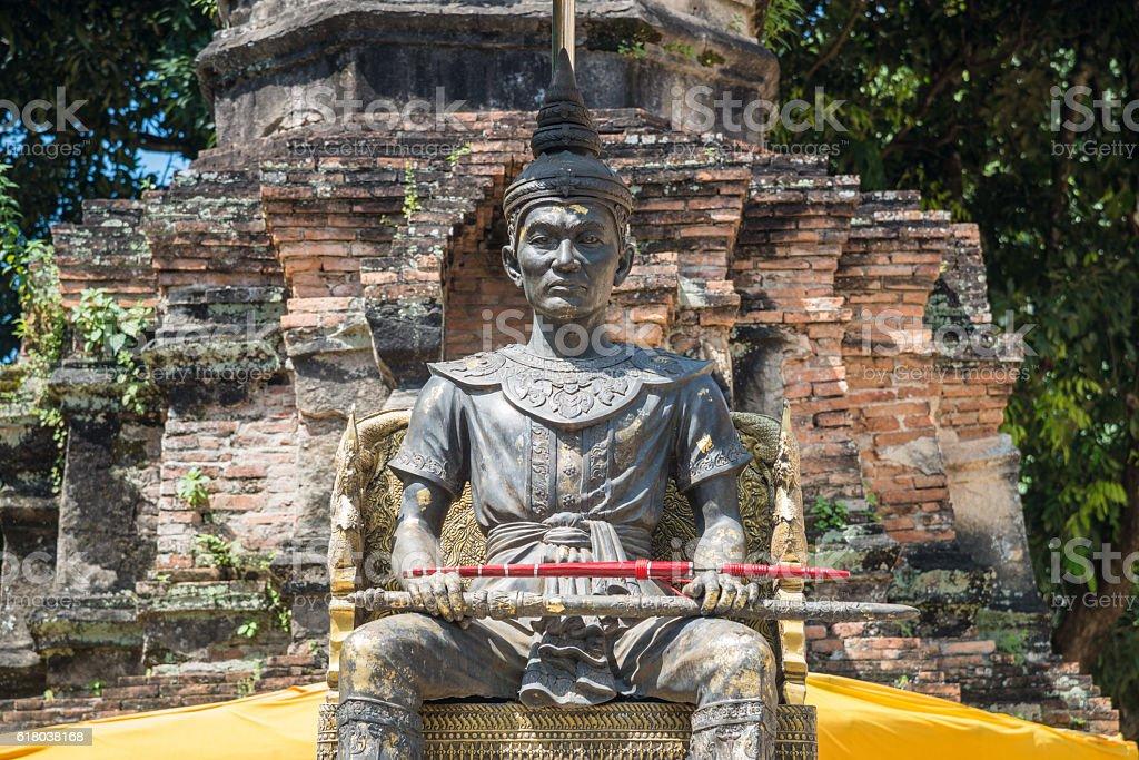 King Mangrai monument of Chiangrai, Thailand. stock photo