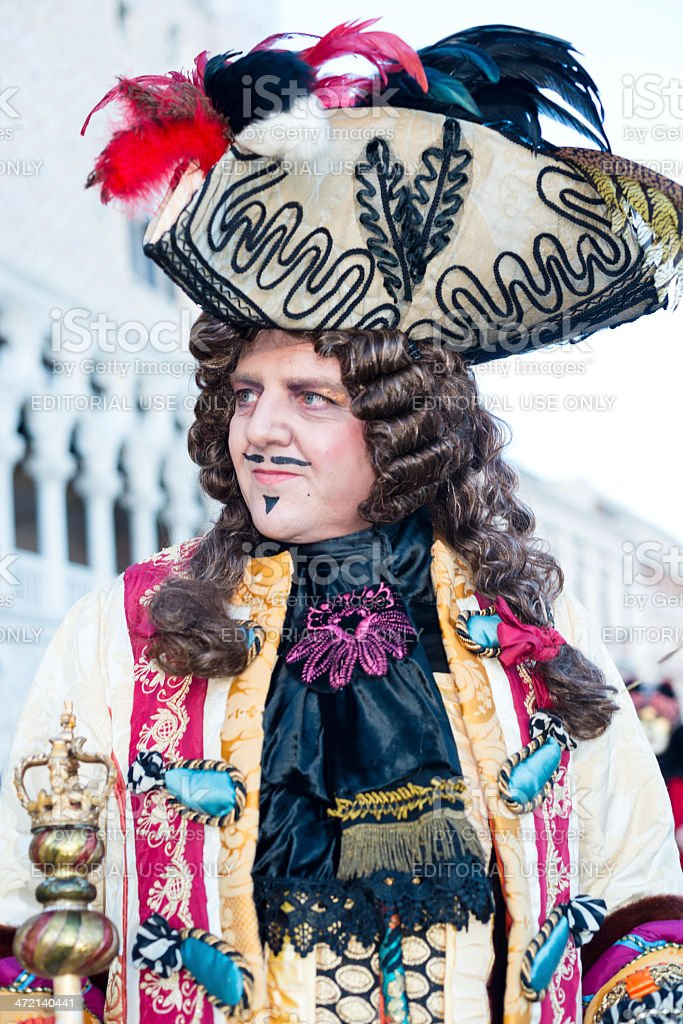 King Mask at Venice Carnival, Italy, Europe royalty-free stock photo