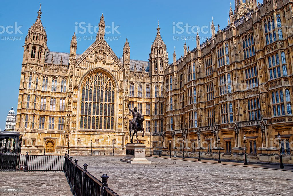King monument at Palace of Westminster in London stock photo