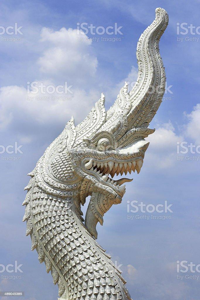 king  naga is thai dragon statue stock photo