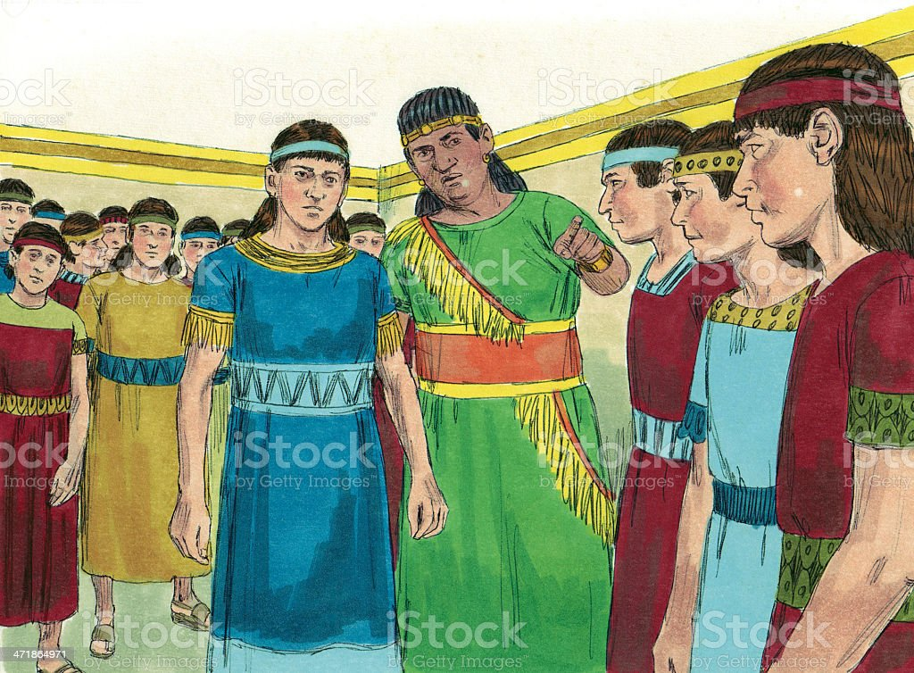 King Nebuchadnezzar and Young Israelites royalty-free stock photo