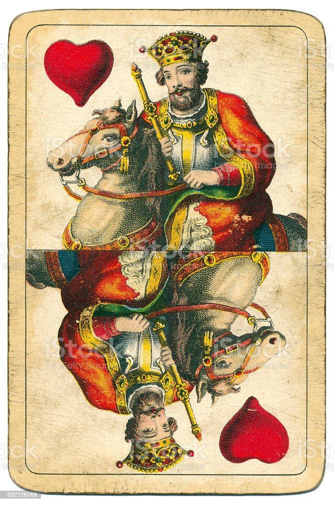 King of Hearts playing card William Tell Hungary 1890 stock photo