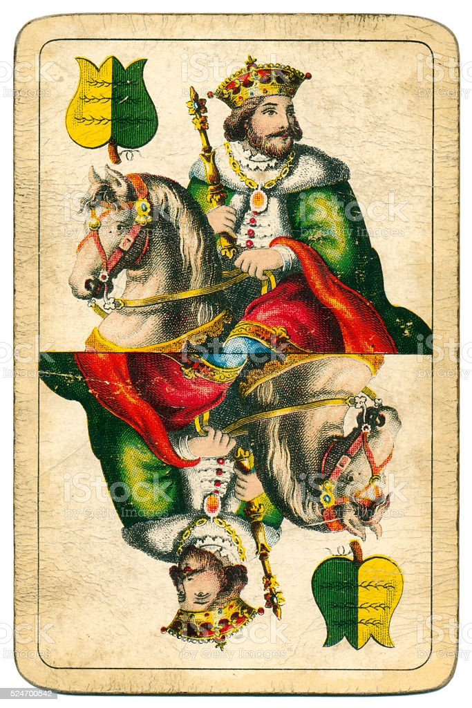 King playing card William Tell Four Seasons Hungary 1890 stock photo