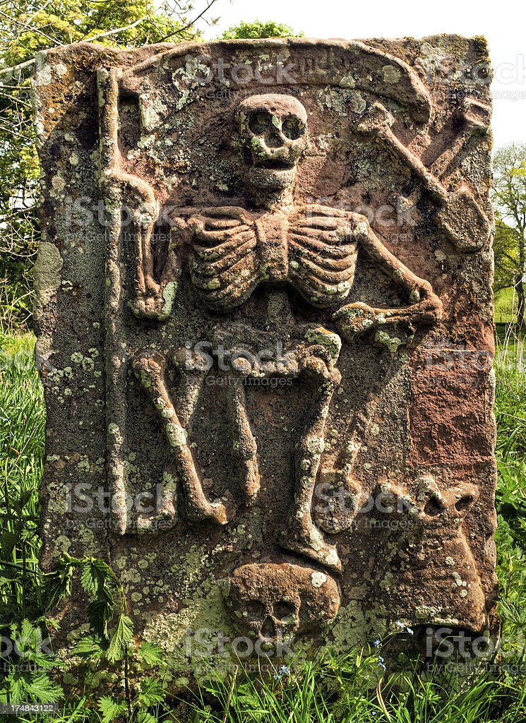 King of Terrors, old symbolic gravestone, Scottish Borders royalty-free stock photo