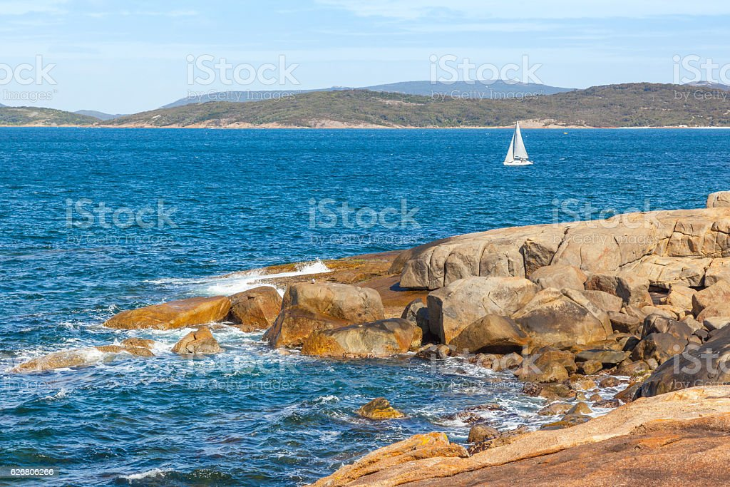 King Point and Yacht stock photo