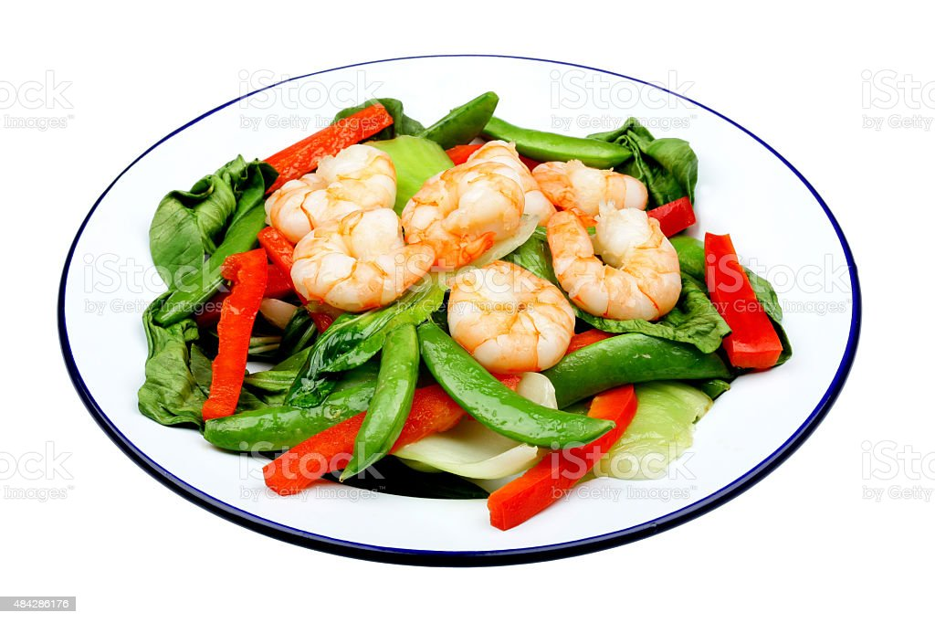 King Prawn And Vegetable Stir Fry Meal stock photo