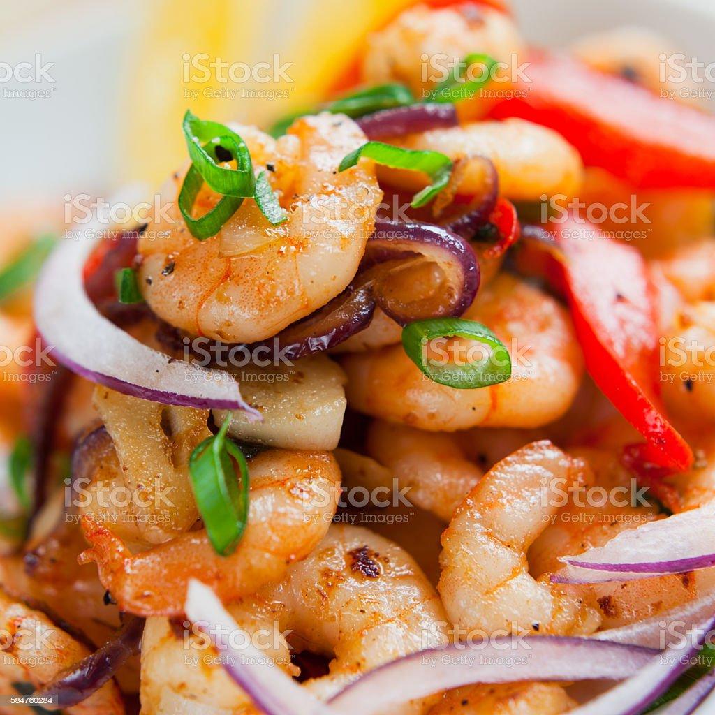 King prawn salad -  chives, red pepper, onion, garlic, chili. stock photo