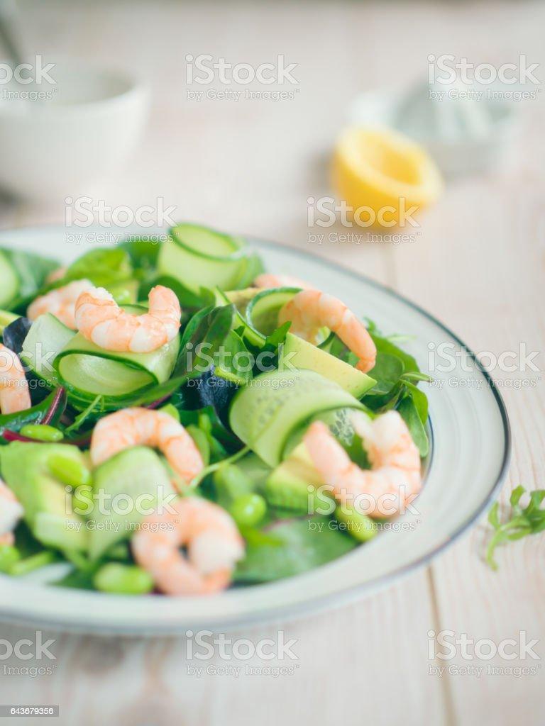 king prawn,cucumber and avocado salad stock photo