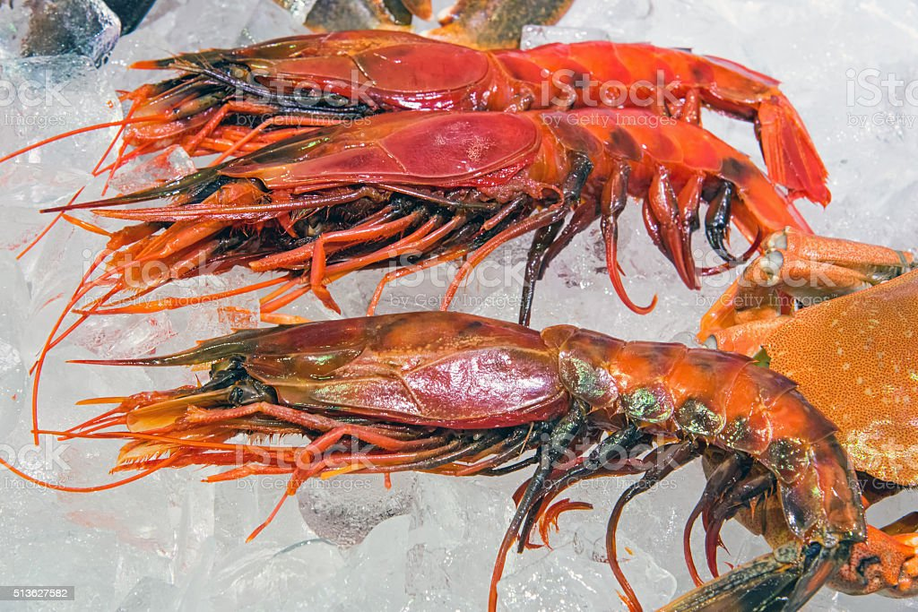 King prawns for sale at a market stock photo