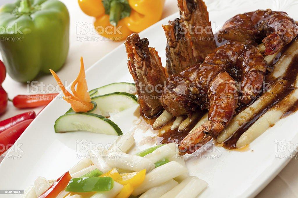 King prawns with asparagus stock photo