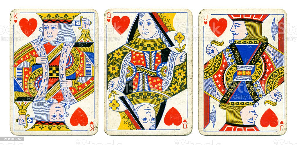 Hearts court cards Victoria Diamond Jubilee playing cards 1897 stock photo