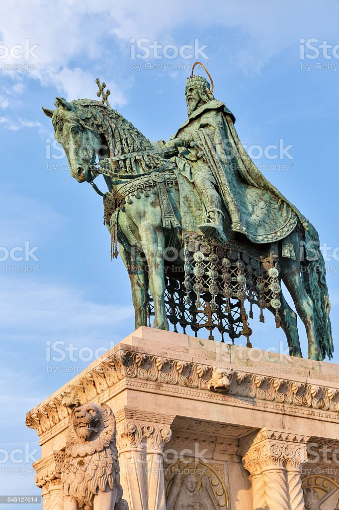King Saint Stephen I statue in Buda Castle. Budapest, Hungary. stock photo