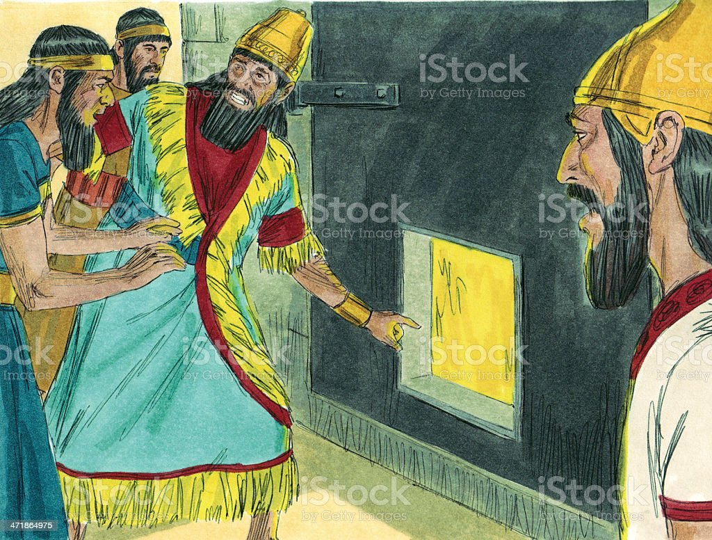 King Sees Four Men in Furnace stock photo