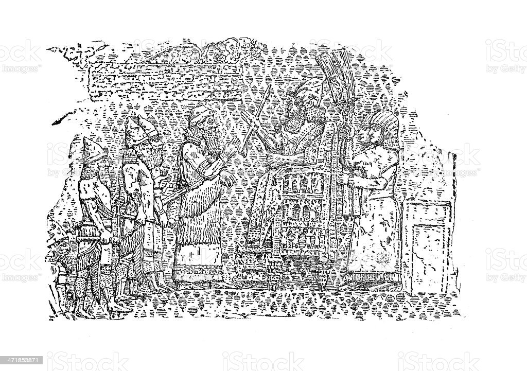 King Sennacherib of Assyria - Engraving 19th Century stock photo