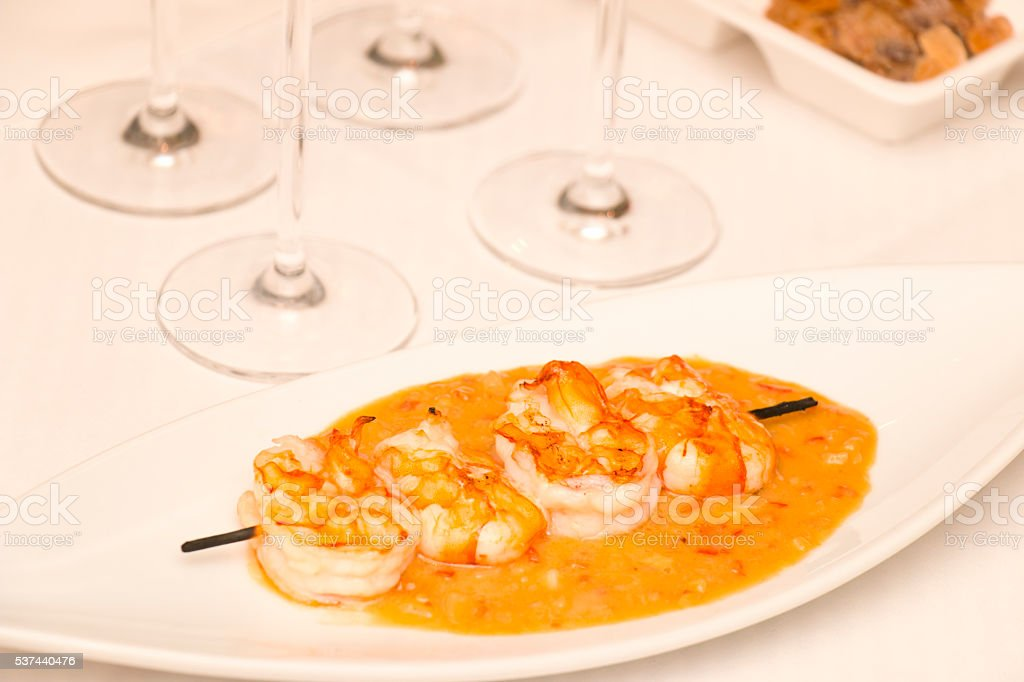 King Size Shrimps in Spicy Peanut Sauce stock photo