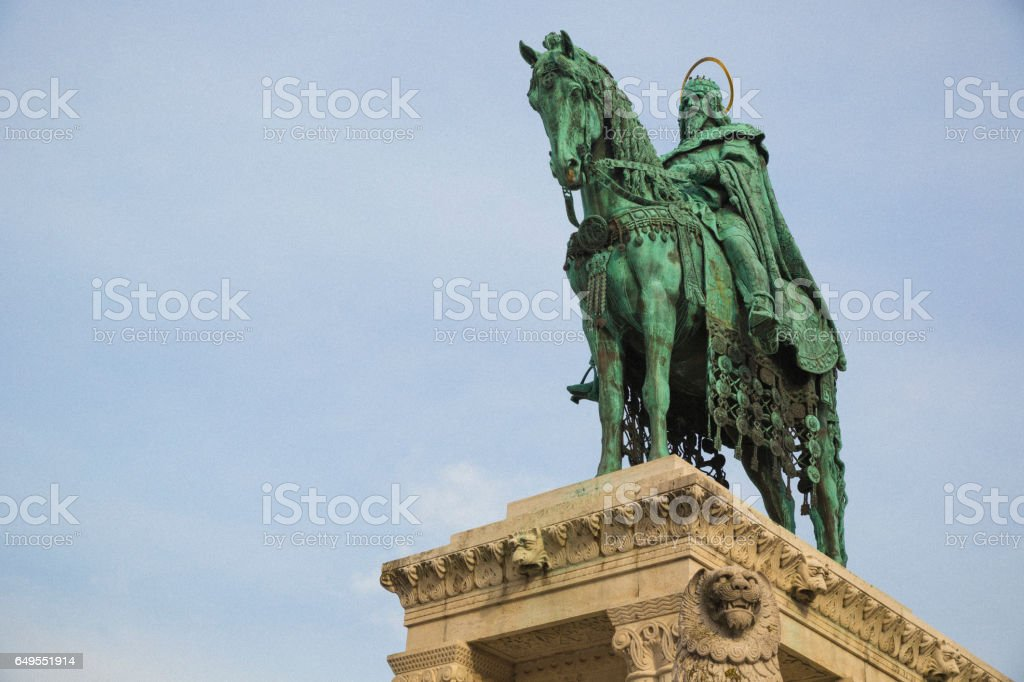 King Stephen 1 bronze statue in Buda Castle district of Budapest. stock photo
