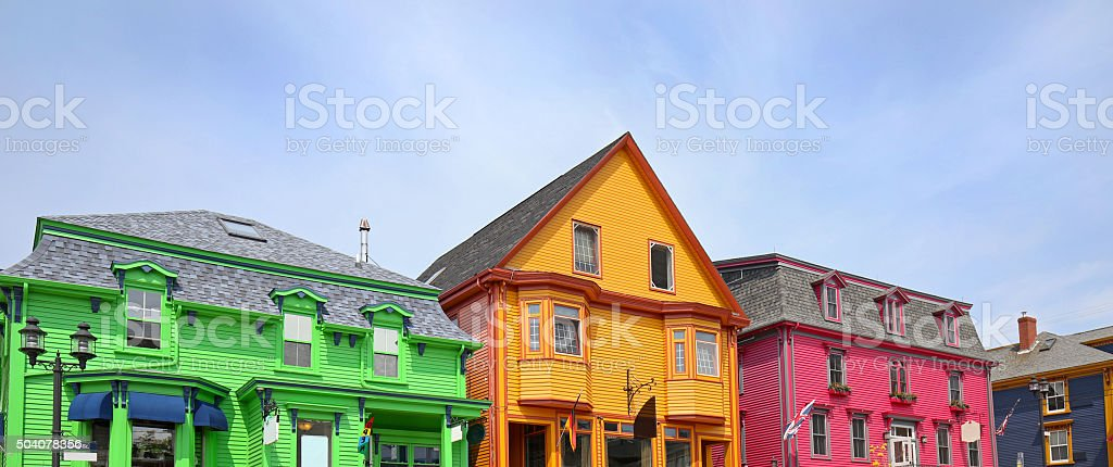 King Street in Lunenburg, Nova Scotia, UNESCO Site stock photo