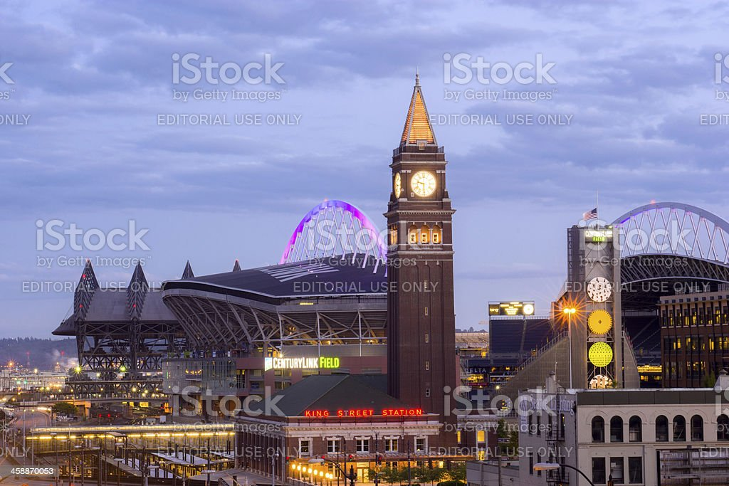 King Street Station and sports stadiums in Seattle, WA stock photo