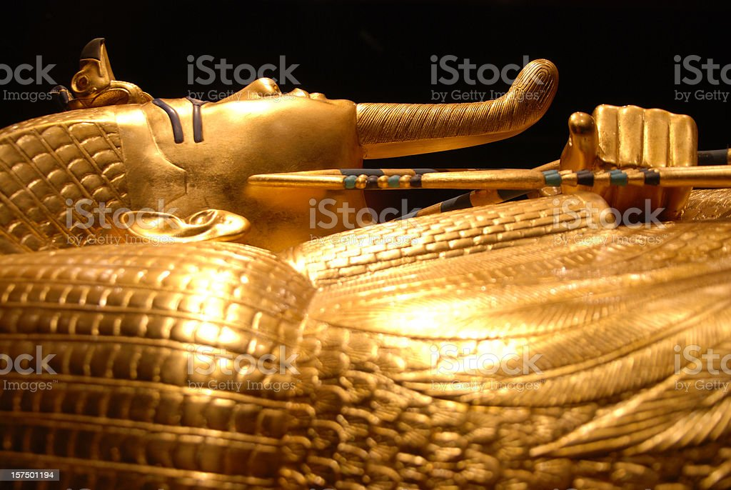 King Tut's golden tomb in Egypt stock photo