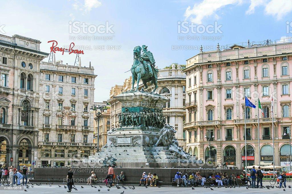 King Victor Emmanuel II Monument, Piazza del Duomo, Milan Italy. stock photo