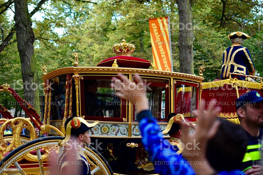 King Willem-Alexander and Queen Maxima on prinsjesdag stock photo