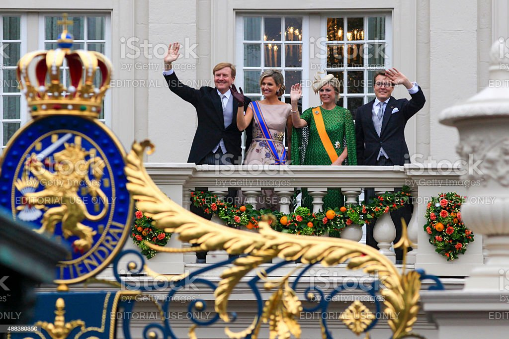 King Willem-Alexander and Queen M?xima waving to the public stock photo