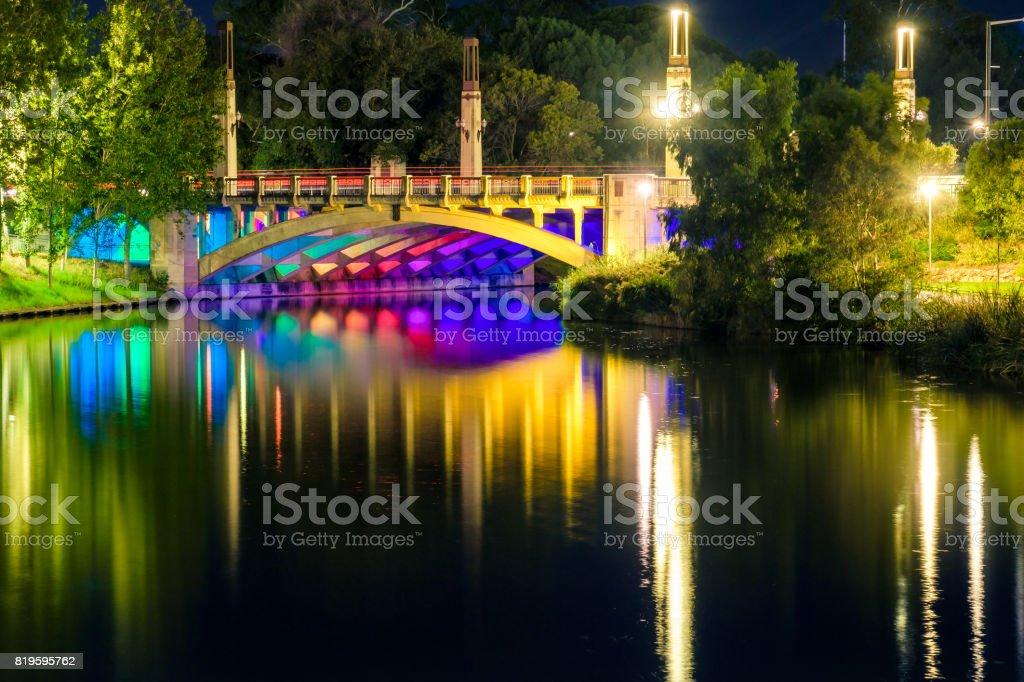 King William bridge in Adelaide city stock photo