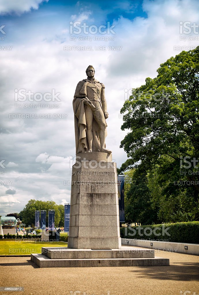 King William IV statue at Greenwich, London stock photo