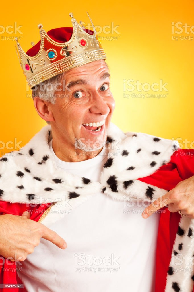 king with blank t-shirt stock photo
