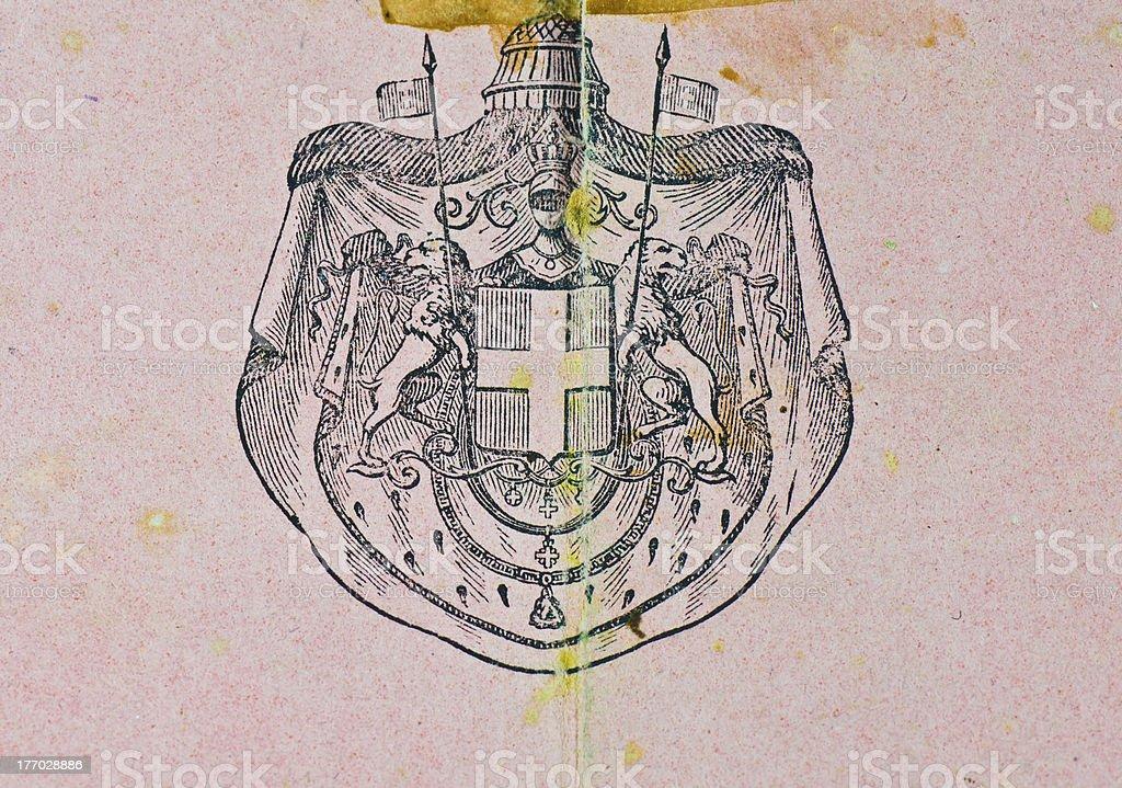 Kingdom Italy Coat of Arms 1800 stock photo