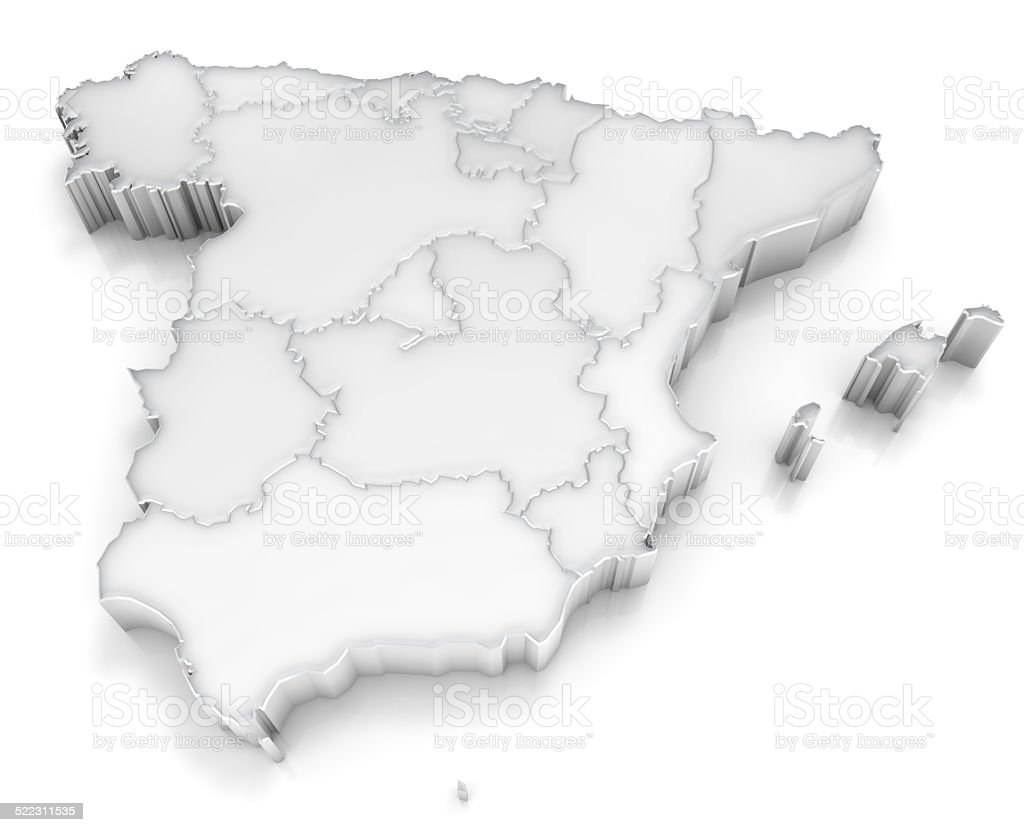 Kingdom of Spain - 3d map with regions on white stock photo