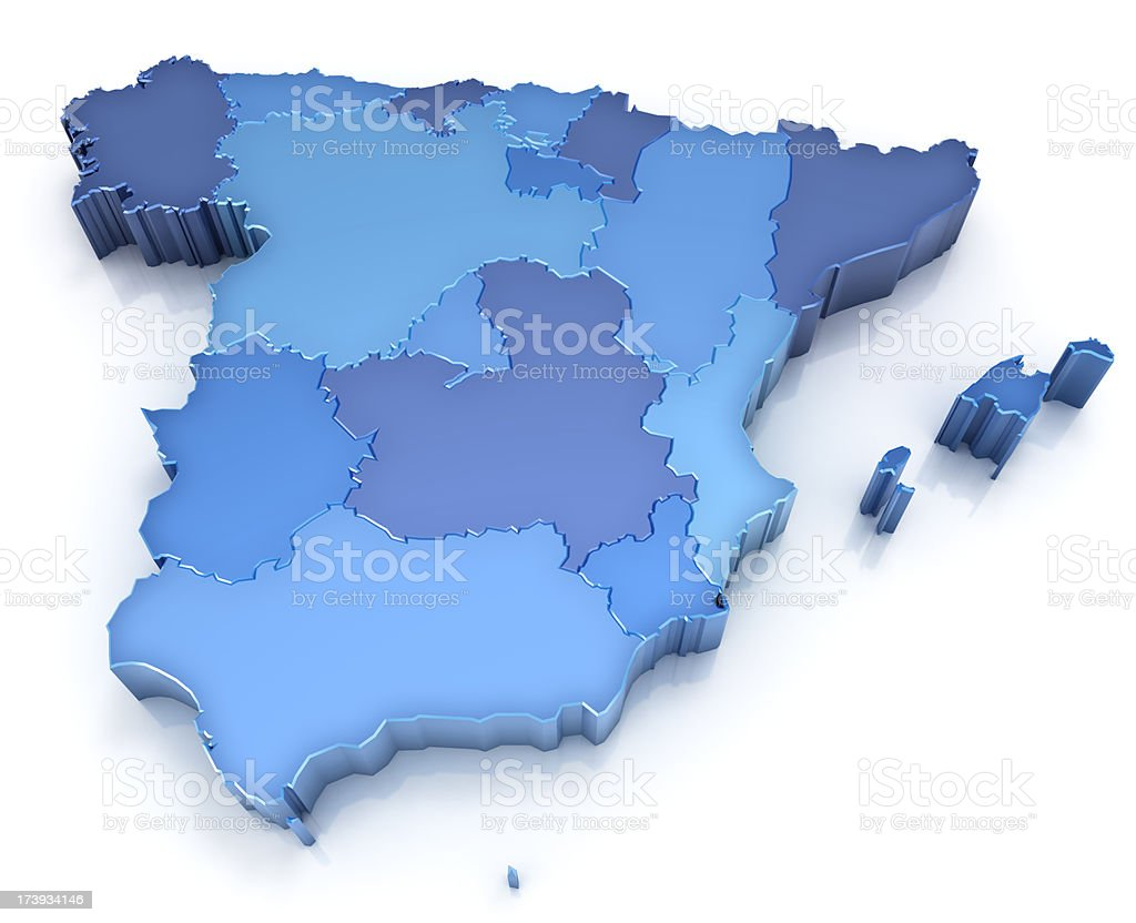 Kingdom of Spain - map with regions stock photo