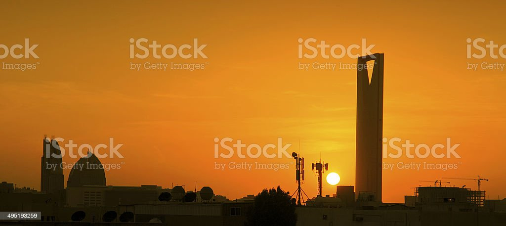 kingdom tower in Riyadh, Kingdom of Saudi Arabia stock photo