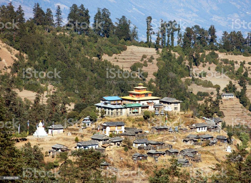Kinggurding Gomba or Gompa, Everest area, Solukumbu stock photo