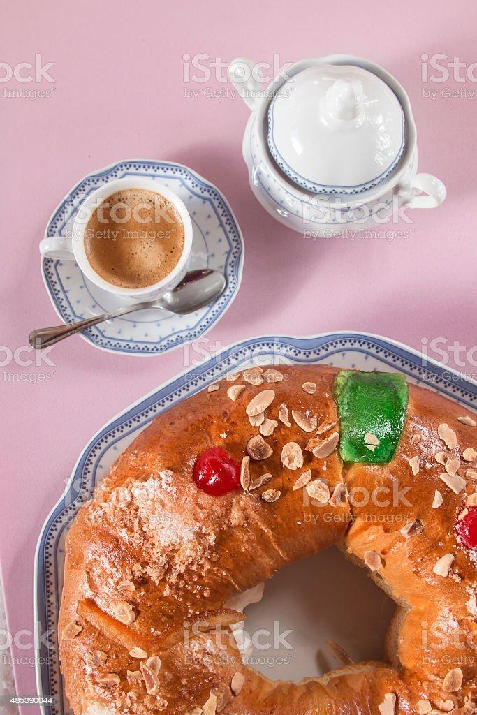 Kings cake, spanish traditional sweet to eat stock photo