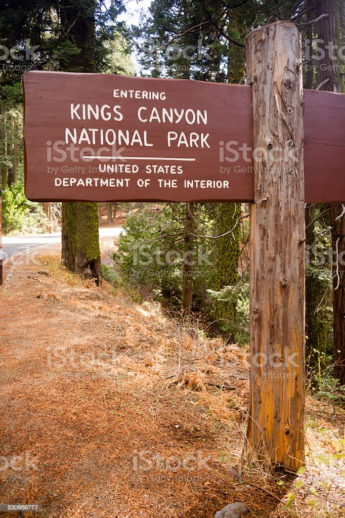 Kings Canyon National Park Entrance Sign US Interior Department stock photo