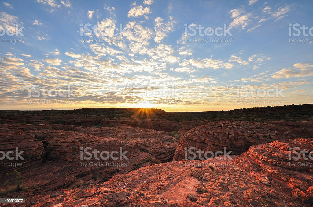 Kings canyon with sunrise, Australia stock photo
