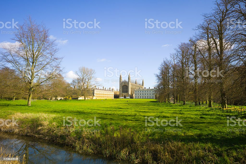 Kings College, Cambridge from the Backs stock photo