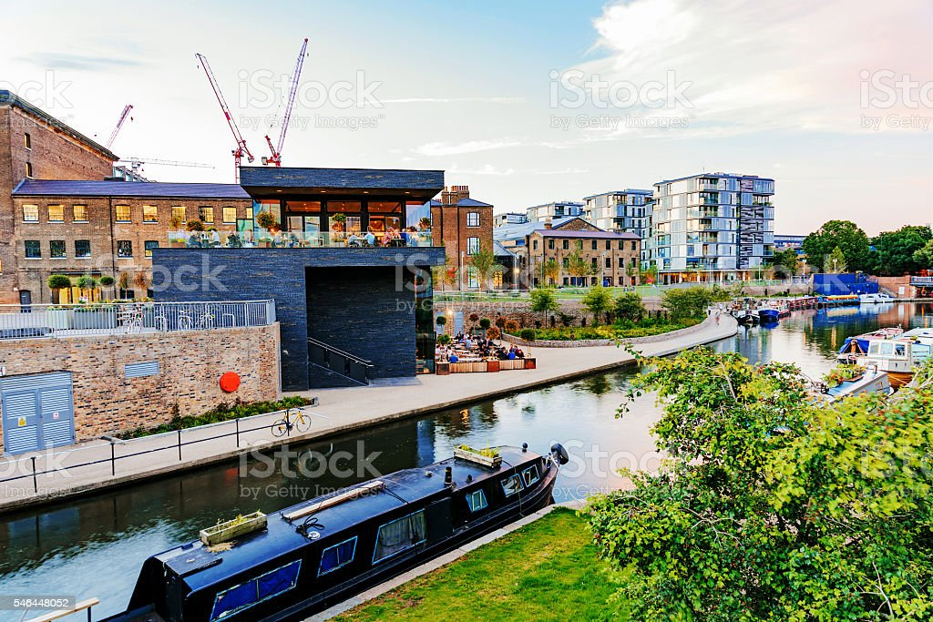 Kings cross canal with buildings stock photo