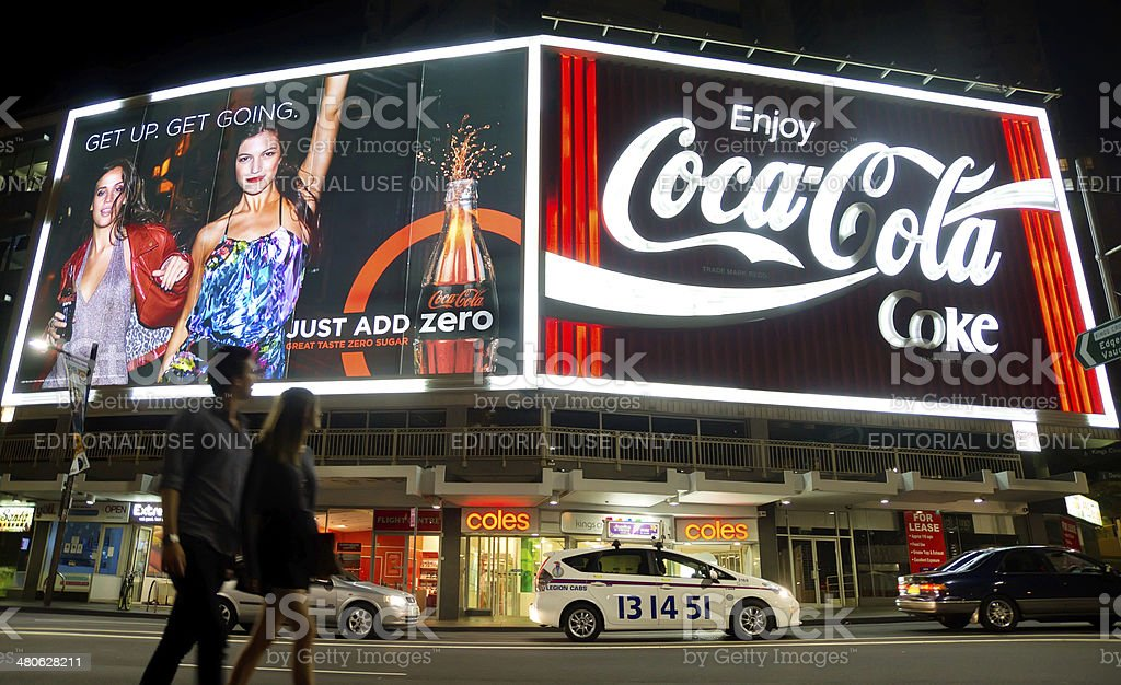 Kings Cross - Coca-Cola Billboard stock photo