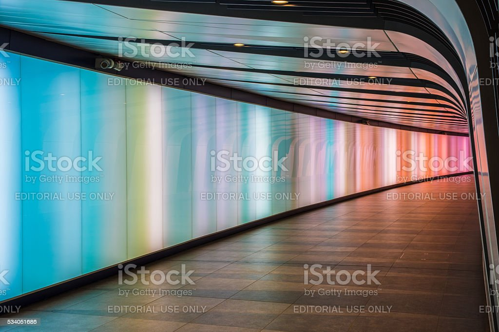 King's Cross Futuristic Looking Tunnel stock photo