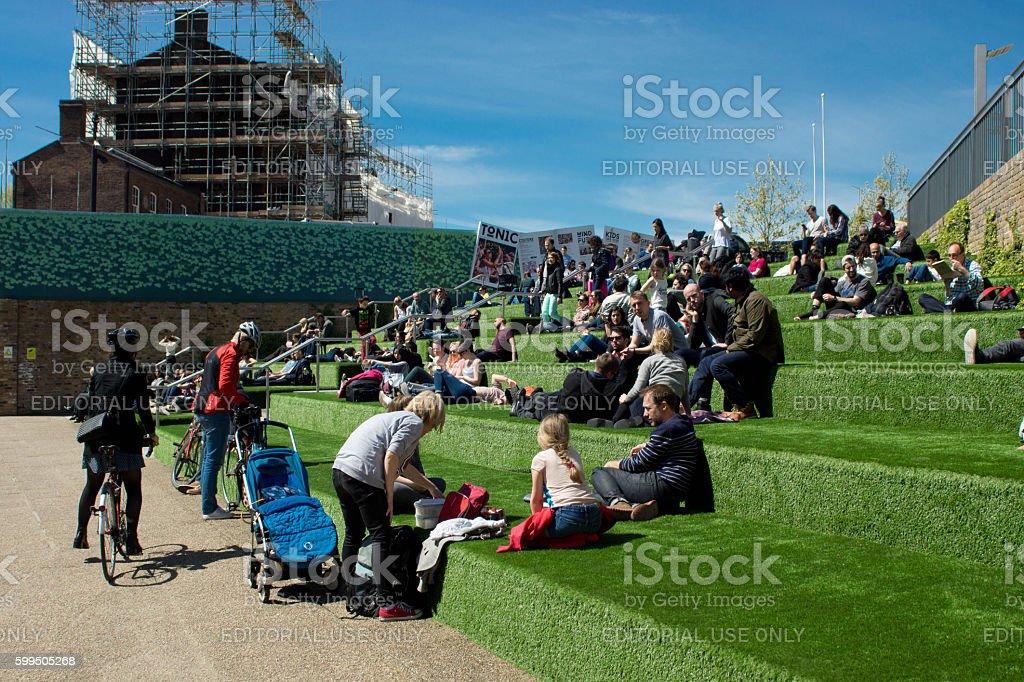 Kings Cross grass steps. stock photo