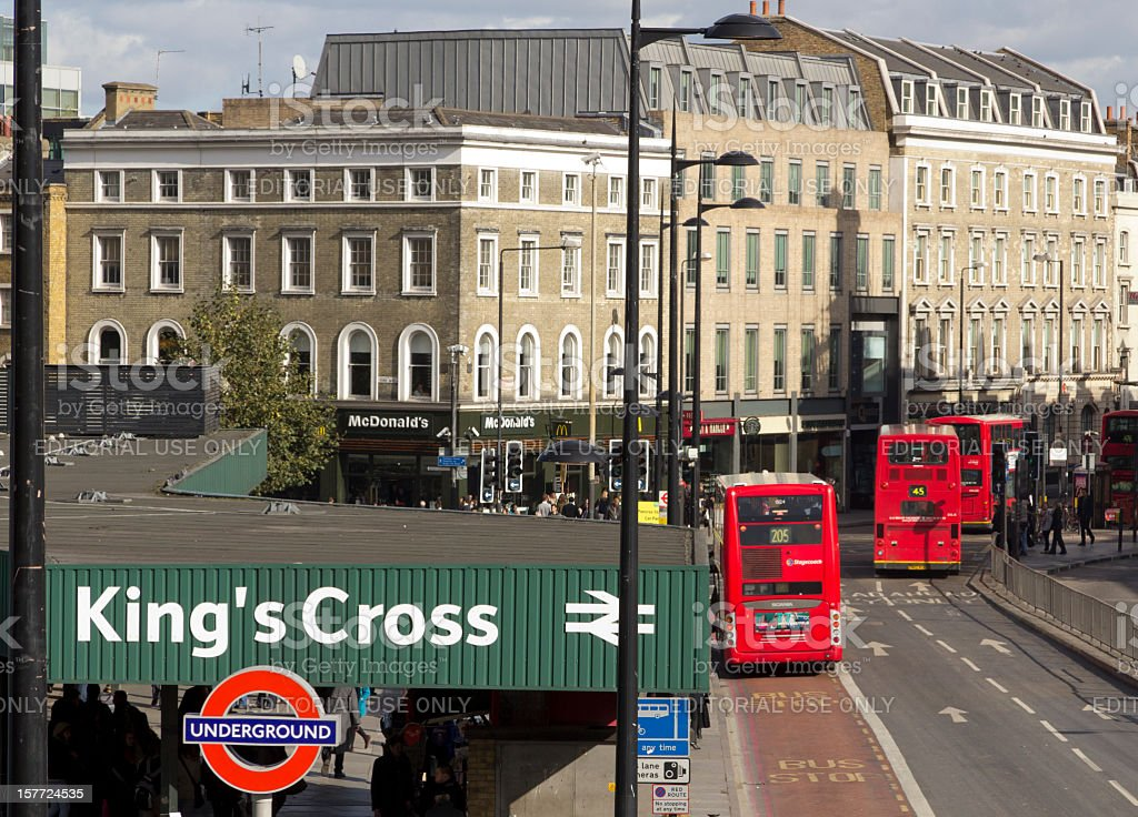 Kings Cross Station, London street scene stock photo