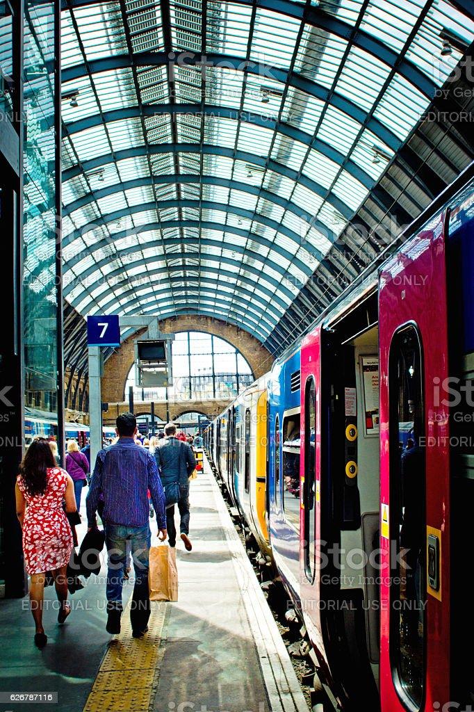 Kings Cross station platform stock photo